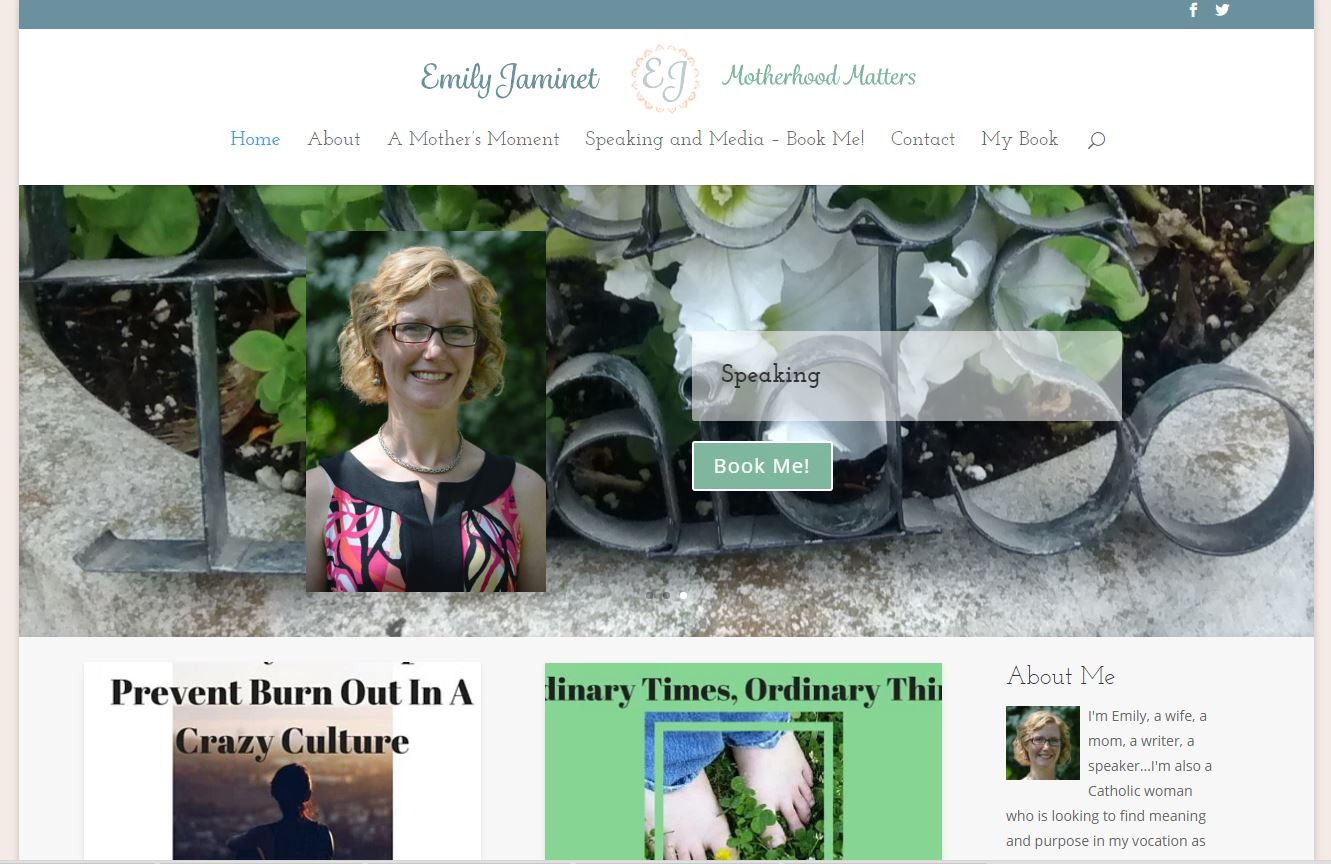 Author and Speaker, Emily Jaminet's Divi Website