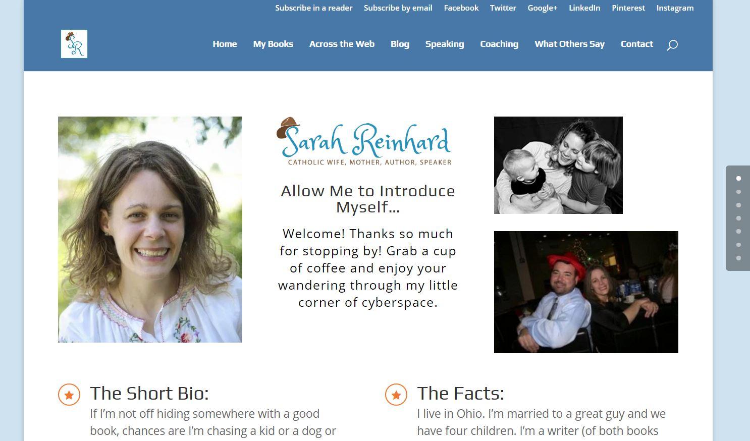 Sarah Reinhard.com homepage